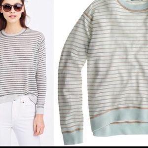 J Crew mint & rose gold metallic striped sweater